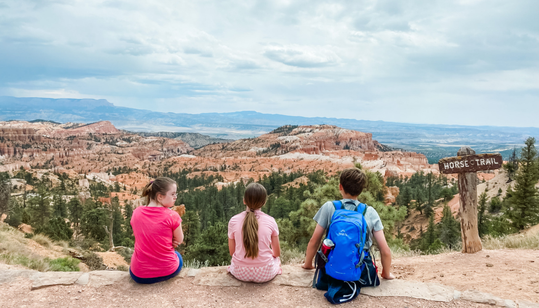 Penny, Marilee, and William sitting on a ledge with their backs to the camera and looking out over mountains looking contemplative