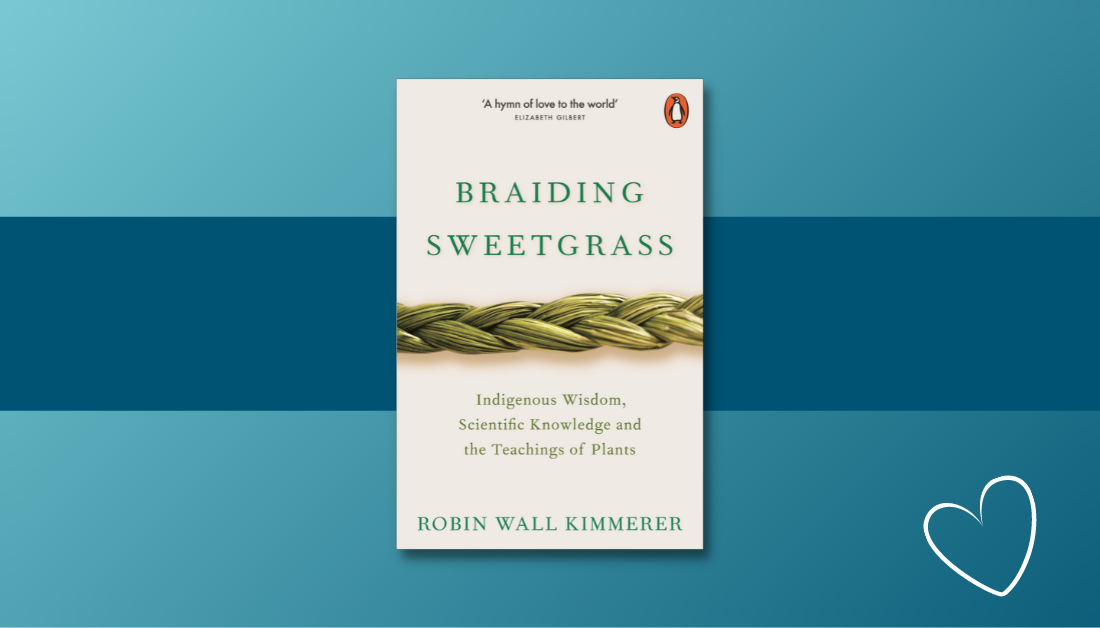 gradient blue graphic with the cover of the book Braiding Sweetgrass