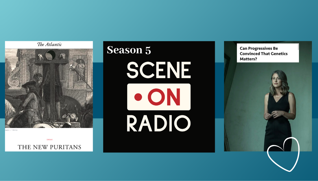 gradient blue graphic with screenshots of articles and the logo of the Scene on Radio podcast