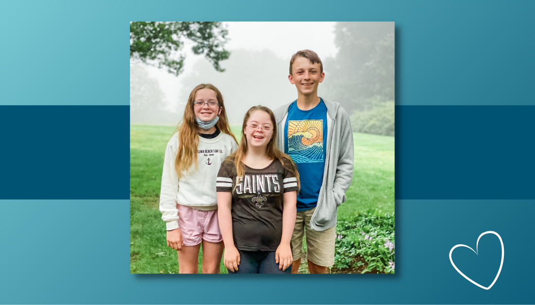 blue graphic with a picture of Marilee, Penny, and William standing outside with foggy trees in the background. They are smiling at the camera, ready to go to school.
